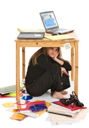 girl under desk